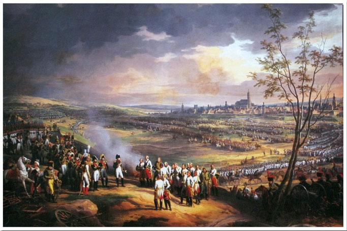 General Mack kapituliert am 20.Okt. 1805  vor den Toren Ulms. Gemälde von Charles Thévenin