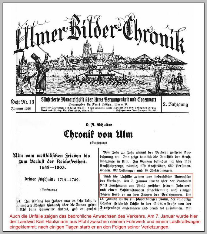 Ein Artikel in der Ulmer Bilder Chronik von 1928 über den Unfall meines Grossvaters.