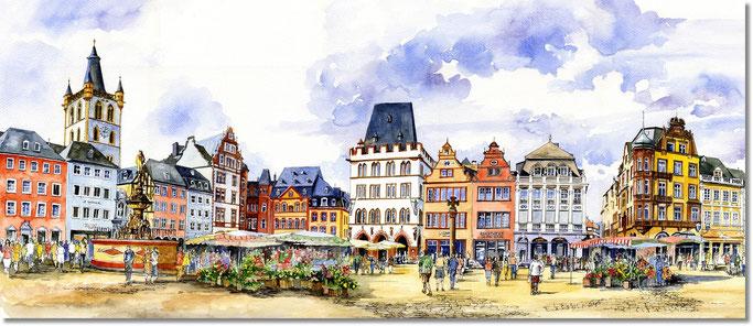 Trier Hauptmarkt. Aquarell von Wiesław Grąziowski