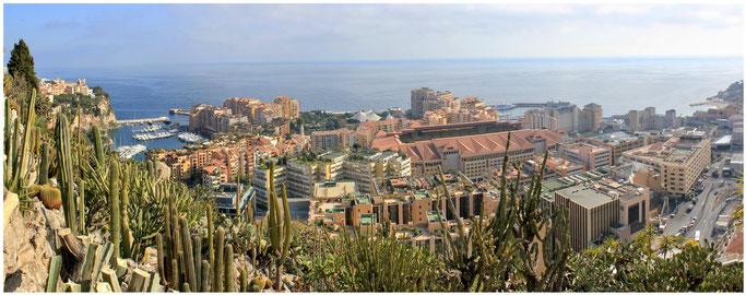Die Stadtteile Monaco-Ville, Fontvieille    Zum vergrößern ins Bild klicken - Click to enlarge.