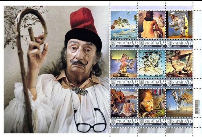 Briefmarkenblock zu Ehren von Salvadore Dalí aus der Ukraine.