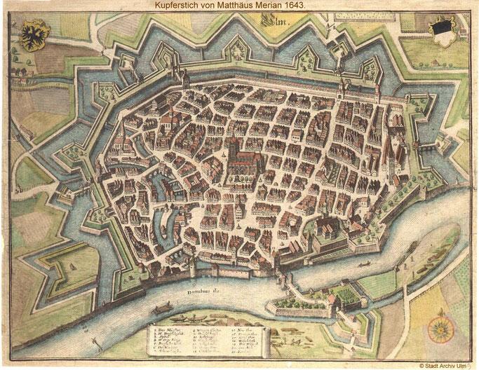 """Mit rund 2 Millionen Gulden modernisierten die Ulmer  zu Beginn des 17. Jh. ihre Befestigung. Seit 1623 schützte erfolgreich eine mächtige vor dem  mittelalterlichen Ring gelegte """"zackige"""" Bastionärbefestigung die Stadt auf der Landseite"""