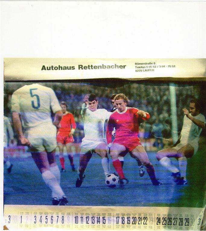 Aus einem Wandkalender der 80er Jahre: Im Duell gegen Camacho von Real Madrid