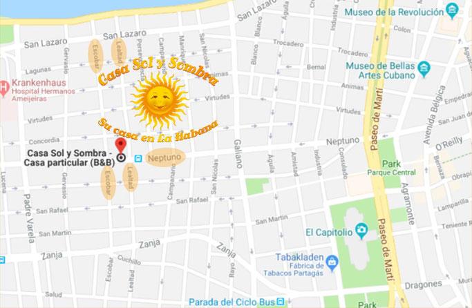 Location of Casa Sol y Sombra - Street Neptuno no. 560 first floor, between streets Escobar & Lealtad, Central Havana