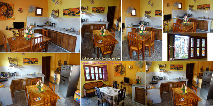 Living room and kitchen in apartment on second floor of 'Casa Sol y Salsa'