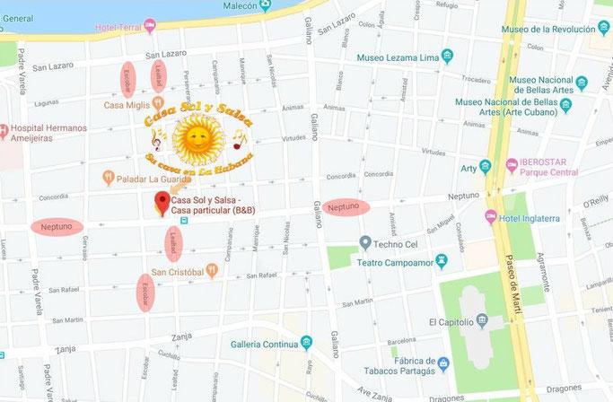 Location of Casa Sol y Salsa - Street Neptuno no. 558, between Escobar & Lealtad