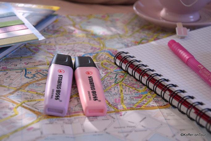 Reiseplanung, Keks, Notizen, Stadtplan