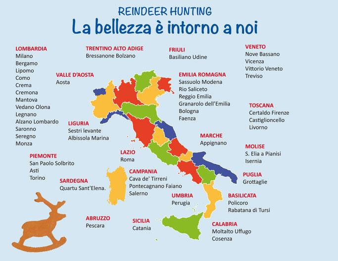 333 renne di terracotta seminate in 35 località toccando tutte le regioni d'Italia.