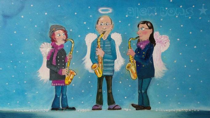 Acrylgemälde Engel Saxophon