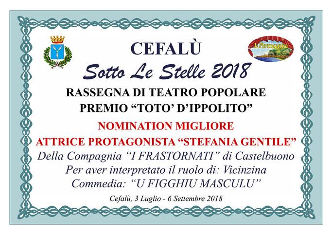Nomination Migliore Attrice Protagonista Stefania Gentile