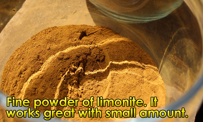 Fine powder of limonite. It works great with small amount.