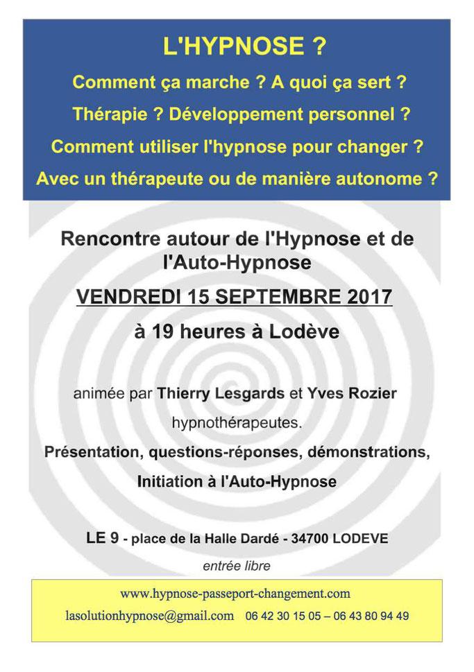 hypnose herault Lodeve Millau st Affrique Roquefort Montpellier hypnotherapeutes Lesgards Thierry / Rozier Yves