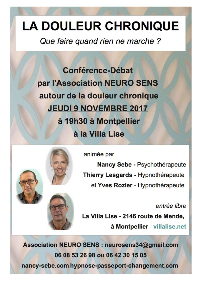 hynose montpellier lodeve conference douleur chronique lesgards thierry rozier yves nancy sebe herault