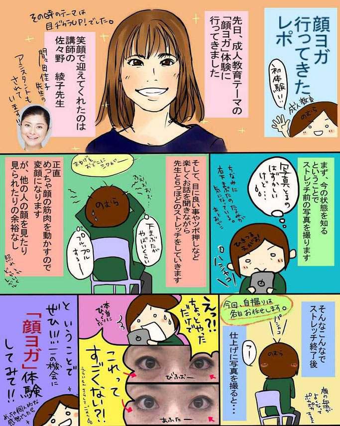 体験者様が描いてくれた顔ヨガ体験レポートのイラスト