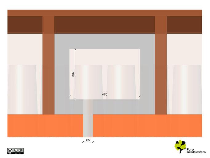 Plano superior del nidal adecuado sobre alero del atrio y bajo la cubierta. El espacio de nidificación debe estar lo más próximo a la entrada posible.