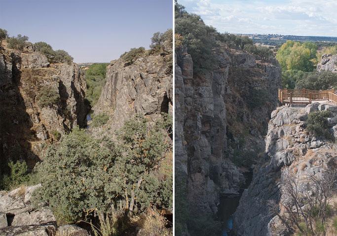 Antes (foto de Honorio Iglesias) y después (foto de Abel Herrero) de la construcción del mirador sobre la garganta del río Moros