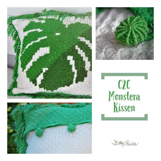 C2C Monstera Kissen - Betty Praiss Häkeldesign