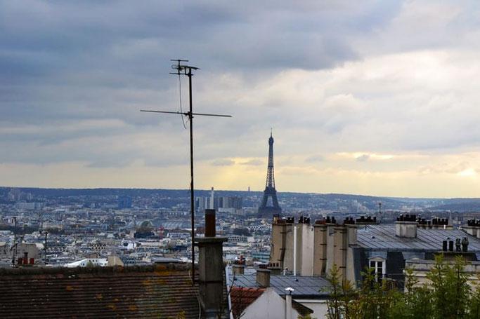 Paris Sacré Coeur Montmartre Aussicht Eiffelturm
