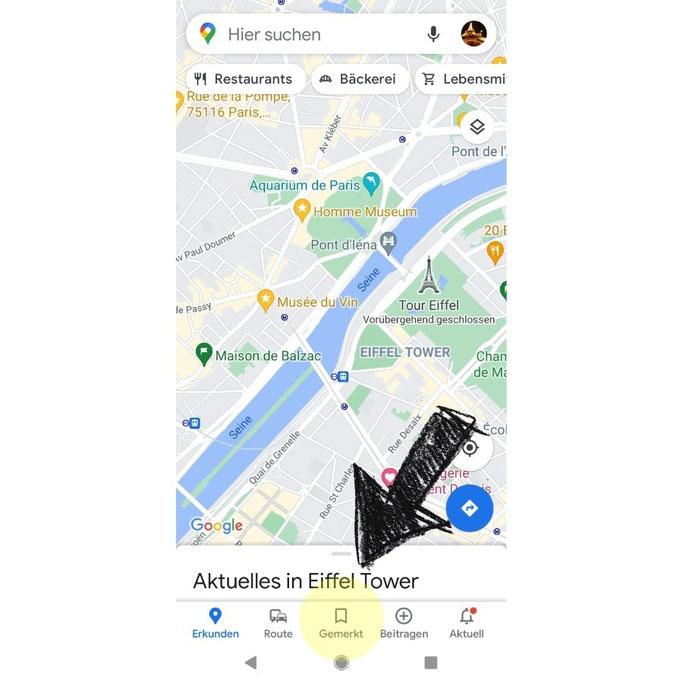 Paris Sehenswürdigkeiten Karte gespeicherte Listen
