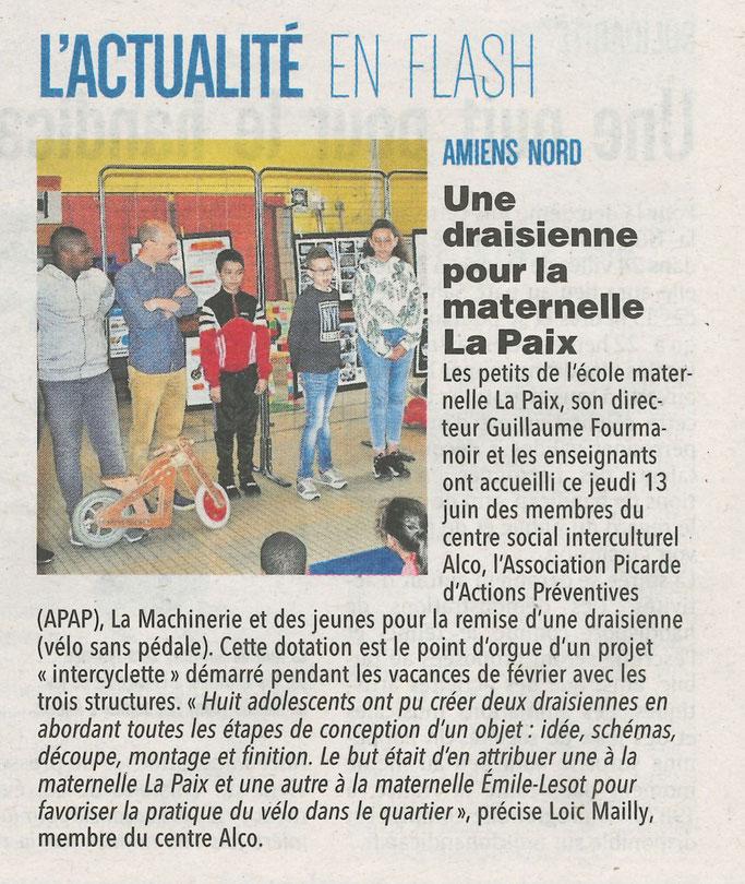article du Courrier Picard Une draisienne pour la maternelle La Paix