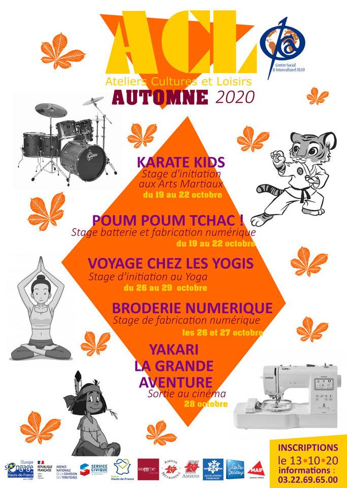 Affiche présentant les Activités Cultures et Loisirs du Centre Social et Interculturel pendant les vacances d'automne 2020.