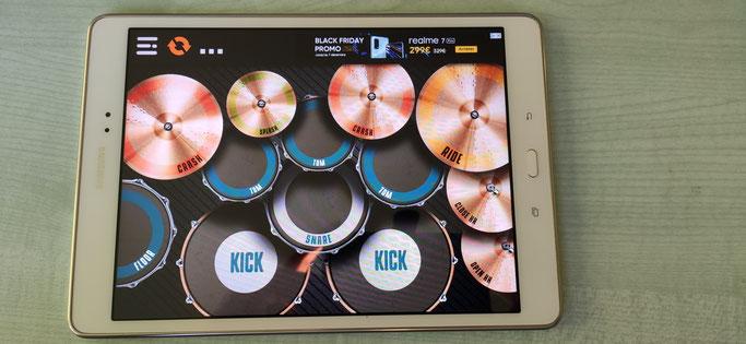 """Logiciel de batterie """"Real Drum"""" Disponible sur le Playstore (android)"""
