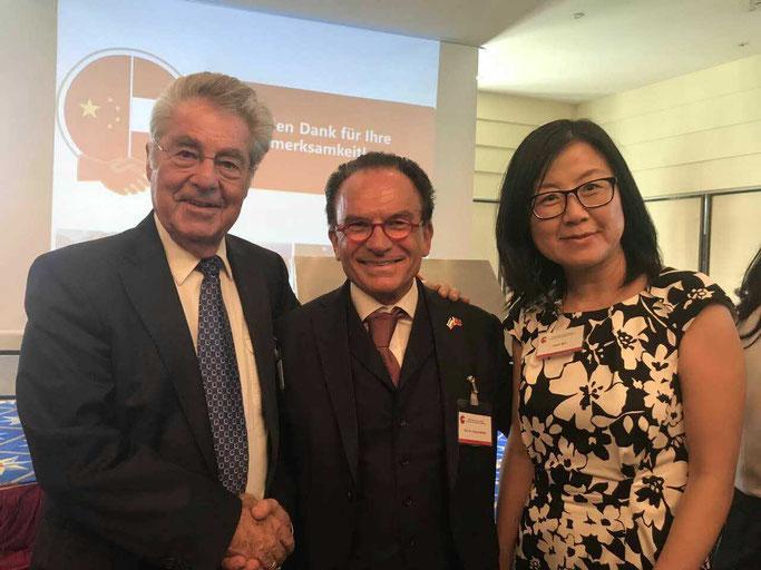 gemeinsam mit Präsident Dr. Heinz Fischer und Janet Mo