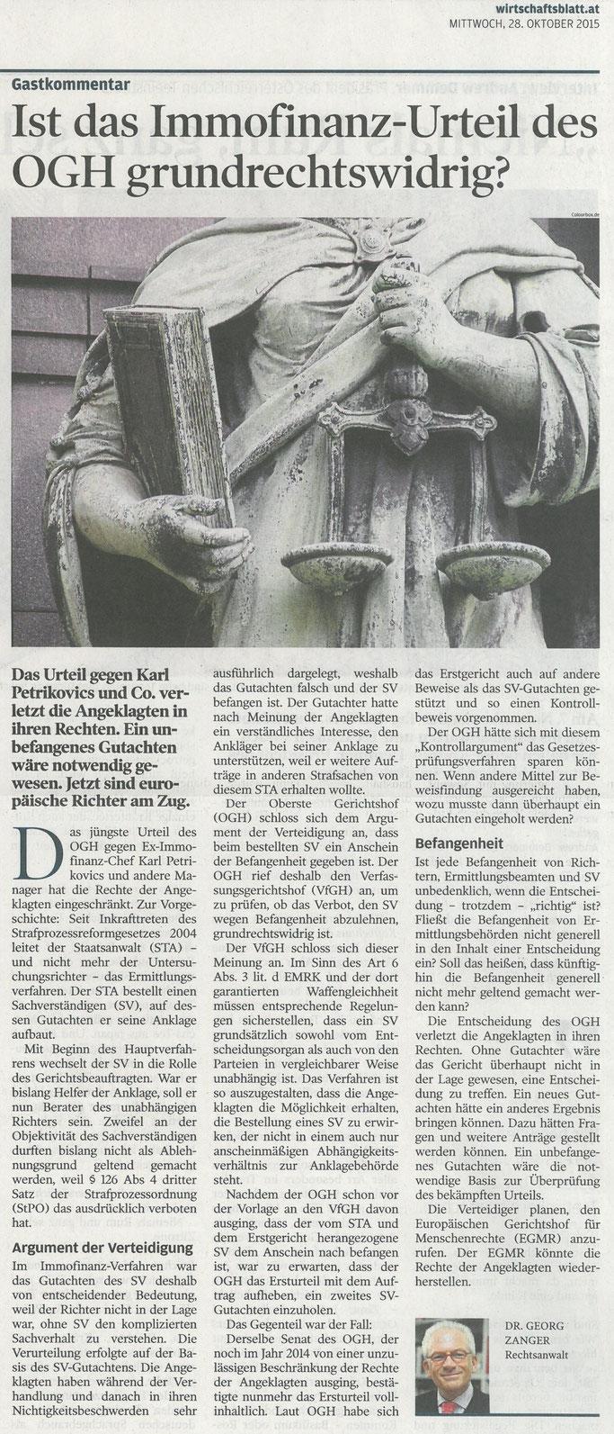 Gastkommentar im Wirtschaftsblatt vom 28.10.2015