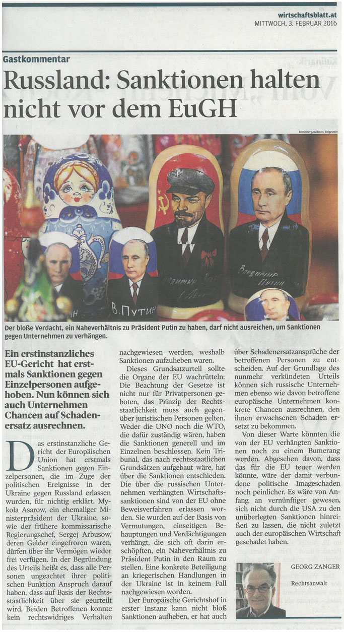 Gastkommentar von Dr. Georg Zanger im Wirtschaftsblatt am 03.02.2016