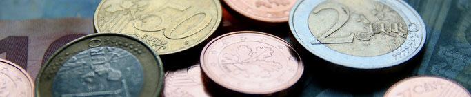 Nahaufnahme von Euromünzen