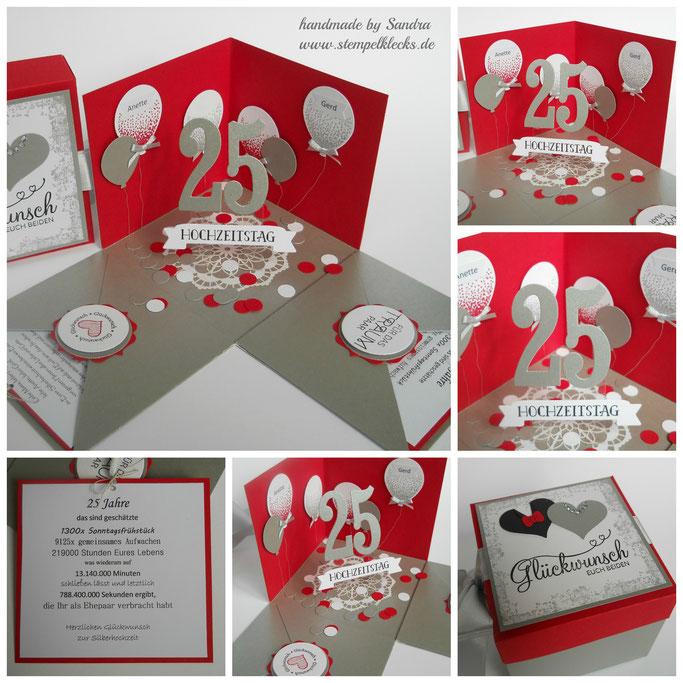 Geschenkbox zur silberhochzeit stempeln stanzen und basteln mit stampin 39 up - Silberhochzeit geschenk basteln ...