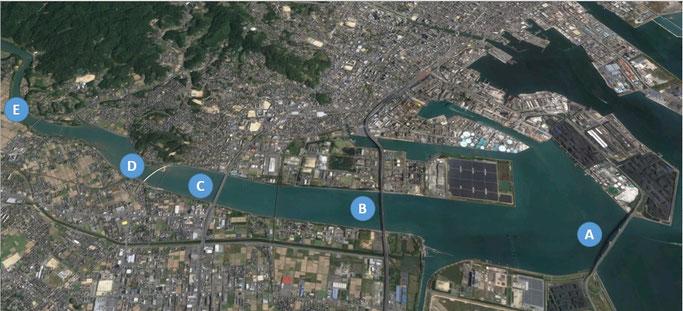 宇部市。厚東川を渡る(Google earth)
