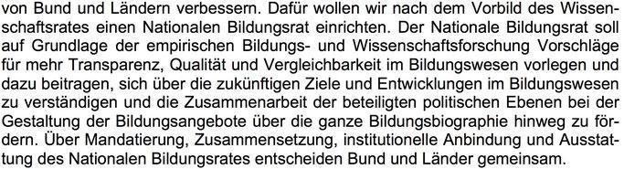 Ausschnitt aus dem Koalitionsvertrag von Union und SPD