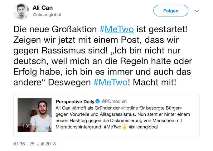 Mit diesem Tweet von Ali Can fing die Debatte an. Foto: Screenshot von Twitter.