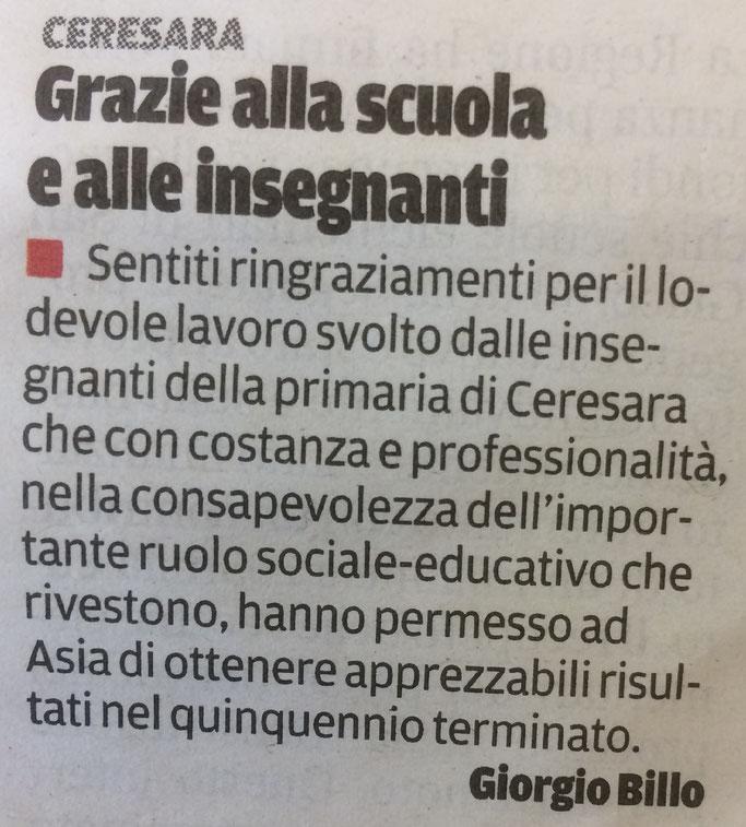 Lettera al direttore - Gazzetta di Mantova  11/06/2017
