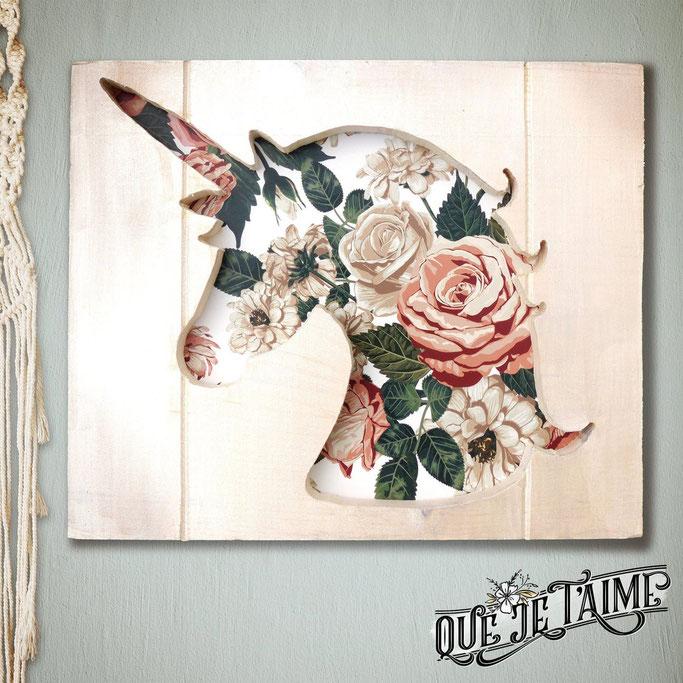 Cadre bois licorne décoration murale fleurs fleuri roses chambre