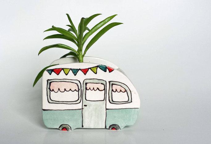 Petite caravane pot de plante