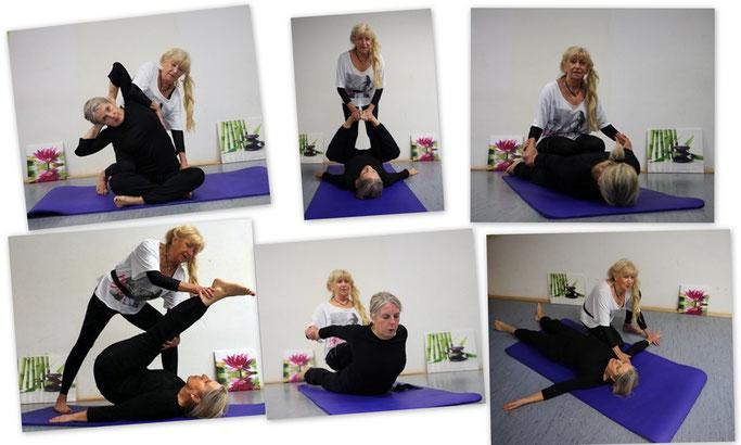 Ingrid zeigt verschiedene Techniken der Thai Yoga Massage an einer Teilnehmerin