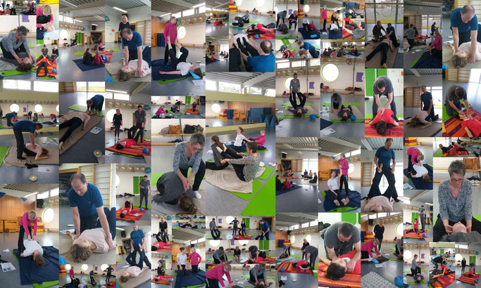 "Fotokollage: Bilder aus dem Workshop ""Thai Yoga Massage"""