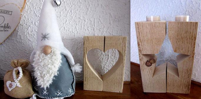 Bougeoirs bois en forme de coeur et d étoile