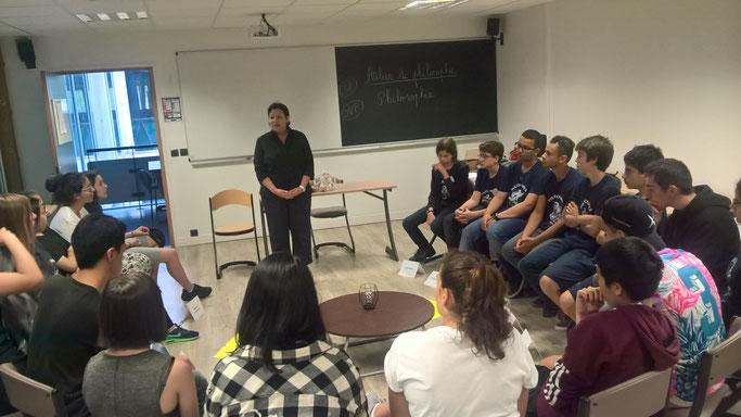 Lycéens de 2de admis en 1ère S,  à l'X Sciences Camp de la Fondation Polytechnique à Paris, juillet 2018