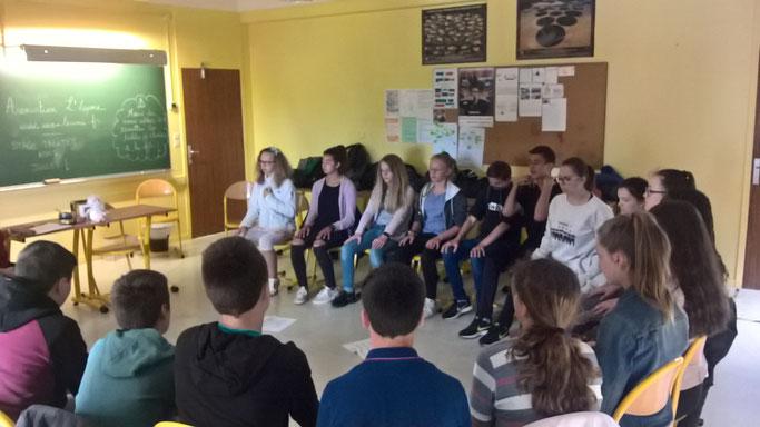 Petite séance de pratique de l'attention avant de débuter la discussion à visée philosophique : les élèves se sont emparés du dispositif après 6 séances et semblent tous l'apprécier.