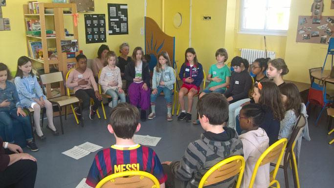 Séance de méditation de pleine conscience avec les 8/12 ans de Lorient, avant l'atelier philo: ils entrent avec faclité dans l'activité !