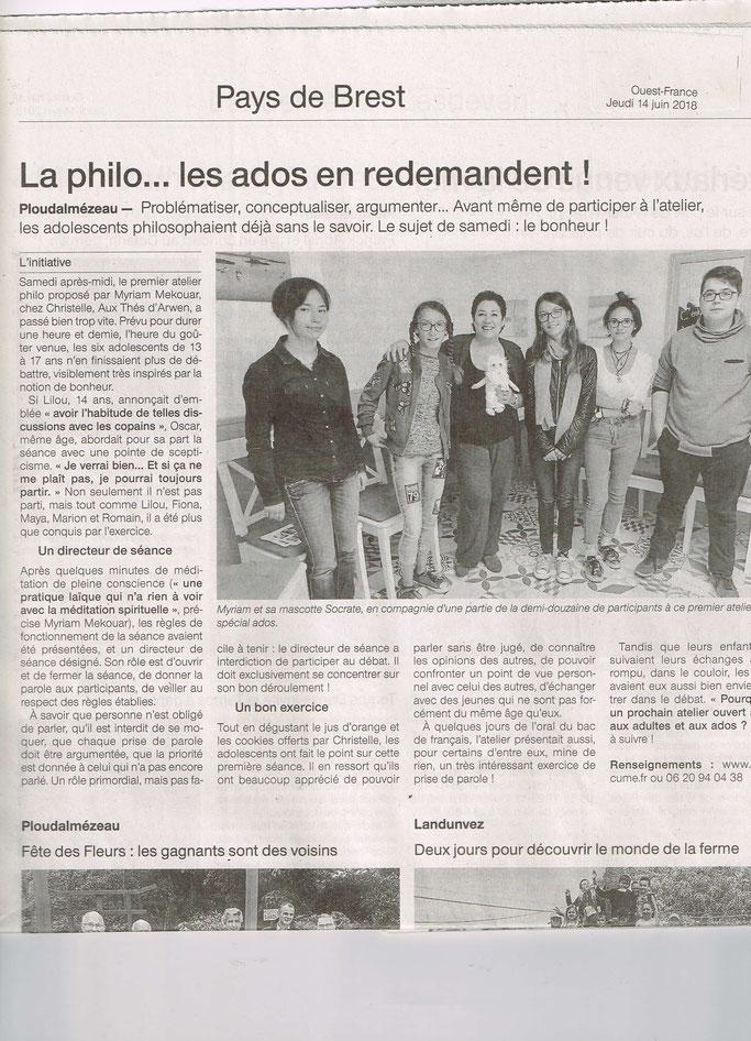 Article paru dans Ouest France le 14/06/2018. Merci !
