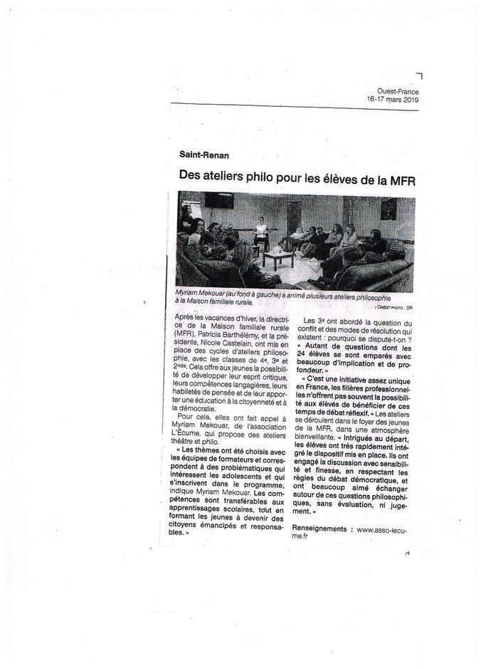 Merci à Christian Abarnou de Ouest France pour cet article qui rend compte du travail effectué !