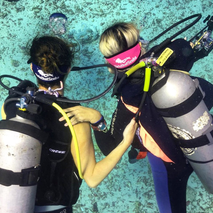 A great way to find a buddy is to look out for the Girls that Scuba mask strap
