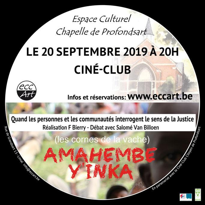 Le 20 septembre 2019 à la chapelle de Profondsart, Ciné-club : Amahembe y'inka (Les cornes de la vache)