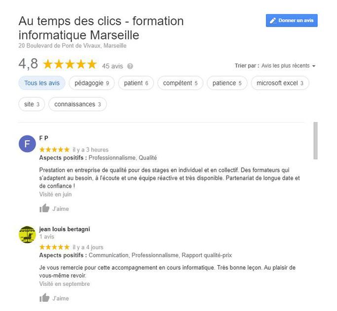 Avis stagiaires cours et formation bureautique informatique Marseille