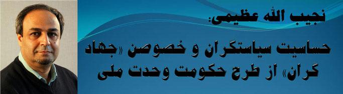 حقیقت ، نجیب الله عظیمی: حساسیت سیاستگران و خصوصن «جهاد گران» از طرح حکومت وحدت ملی