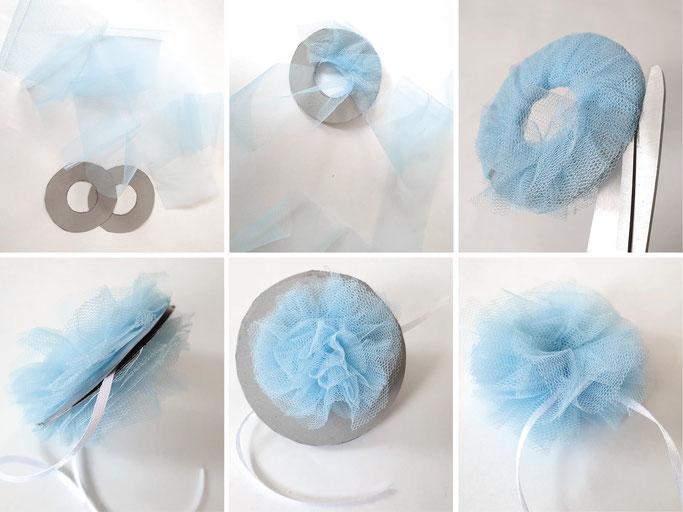 Eiskönigin Kostüm - Tüllblume basteln für Haarschmuck